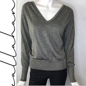 Anthro Callahan Metallic Top Sweater Pullover Sz M